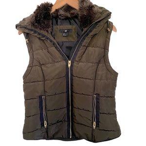 H&M Brown Puffer Pho Fur Small Hoodie Vest